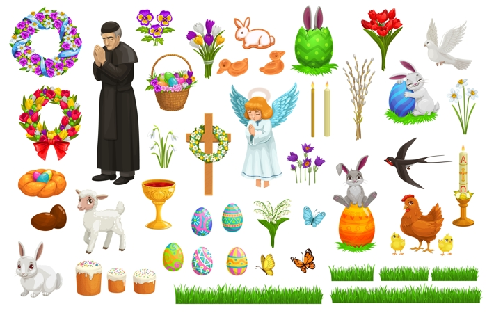 Easter holiday vector characters and symbols