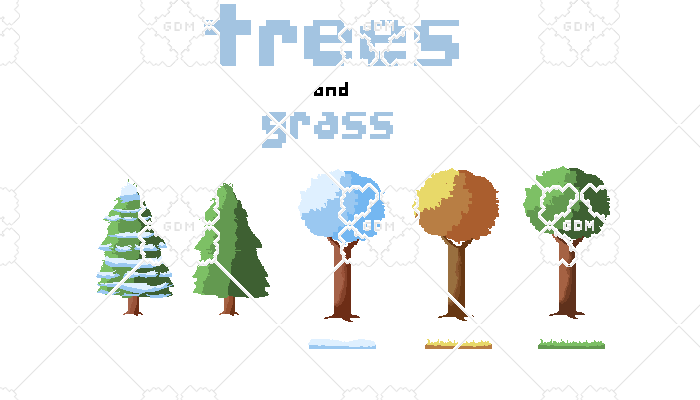Trees and grass in different seasons