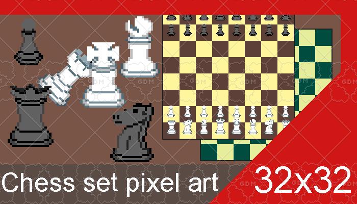 Chess set pixel art