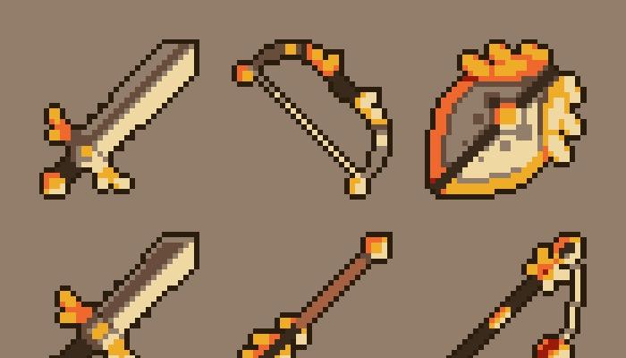 100 Pixel Art Fantasy Weapon Icons