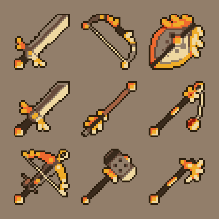 100 Pixel Art Fantasy Weapon Icons