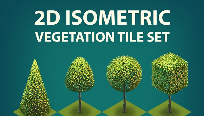 2D Isometric bushes and trees