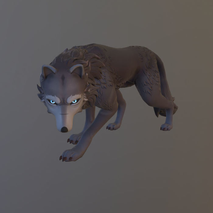 Game ready rigged wolf