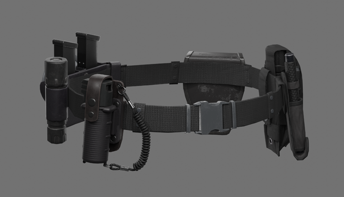 Police Belt Gear Set Low-poly 3D model