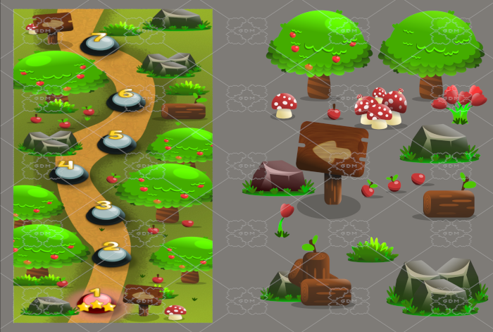 VERTICAL 2D GAME ASSETS FOR LAVEL MAP