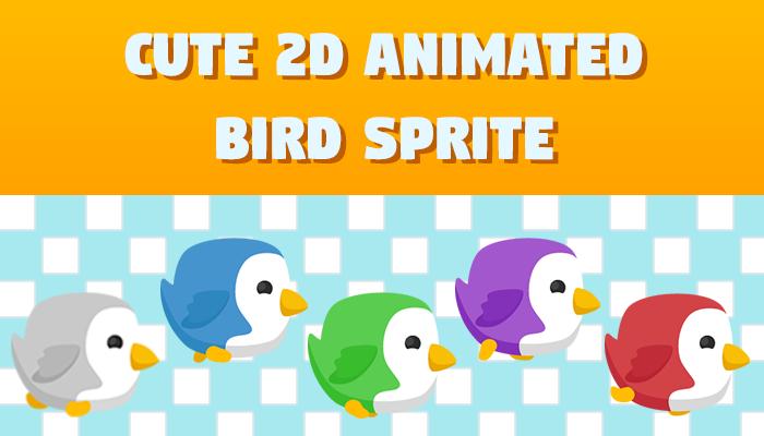 Cute 2D Animated Bird Sprite