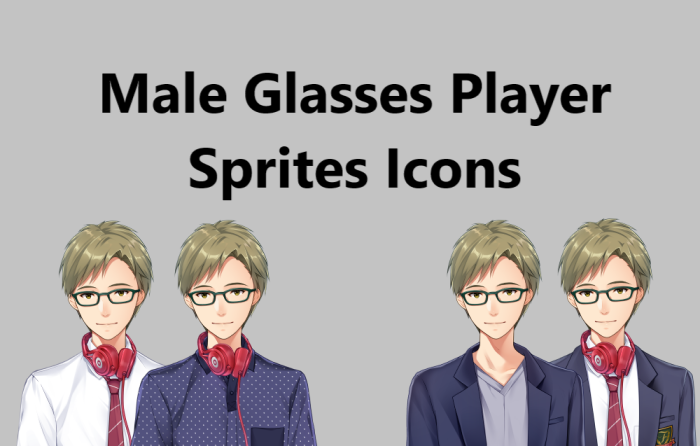 Male Glasses Main Character: Icon Sprites