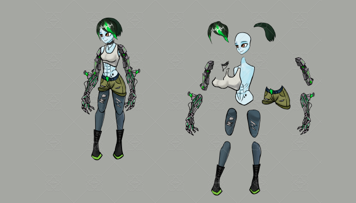character prepared for animation