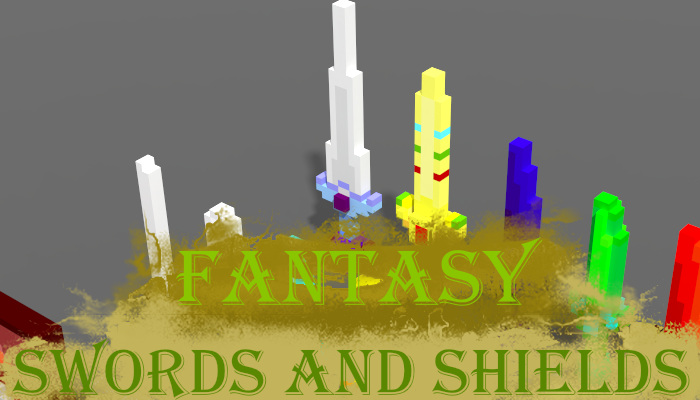Voxel Fantasy Swords and Shields