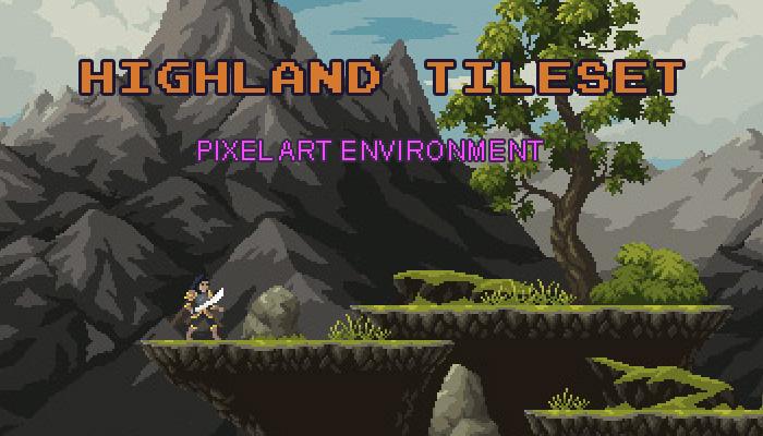 Highland Environment Pixel Art Tileset