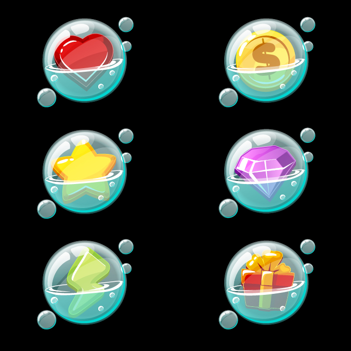 Soap bubbles with game icons