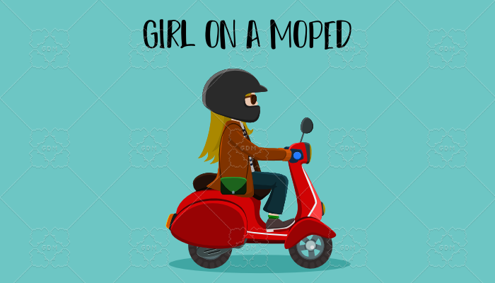Girl on a moped