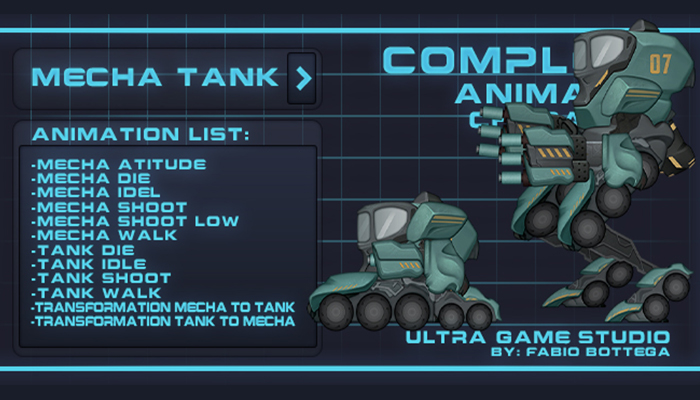 Alien complete animated character – 2D game assets – Nocturna's Mecha Tank