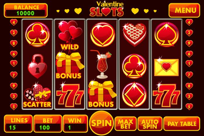 Complete menu slot style St.Valentin