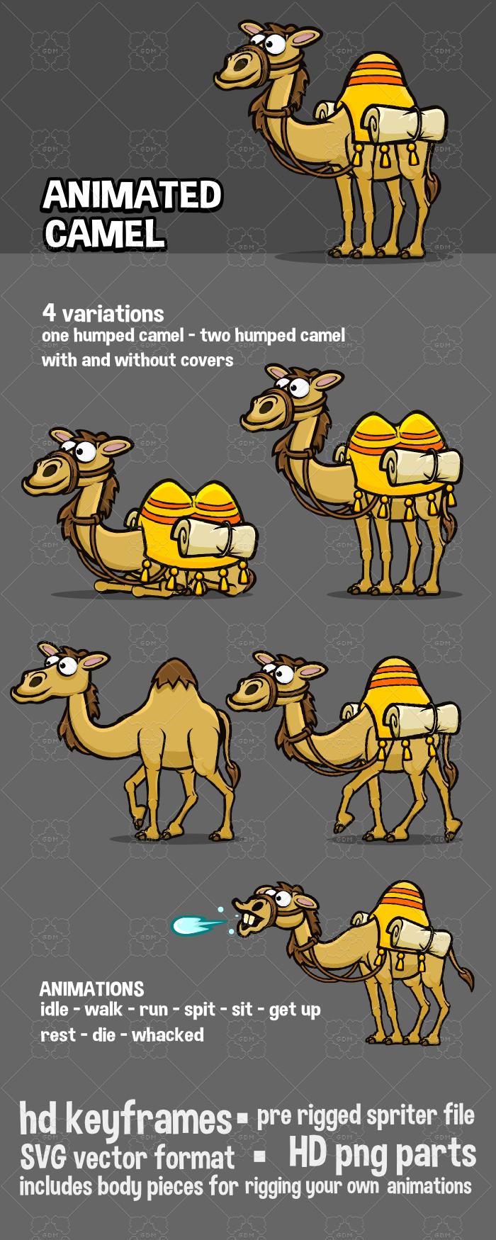 Animated camel cartoon sprite