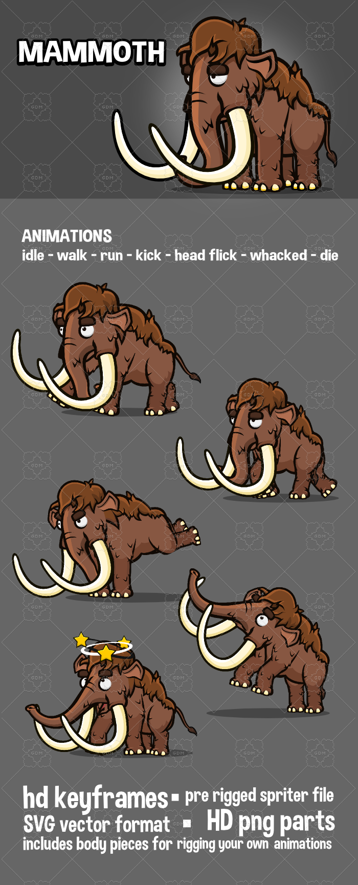 Animated mammoth 2d game sprite