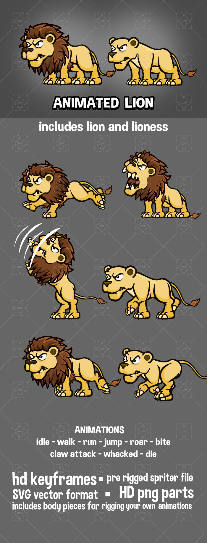Animated lion cartoon sprite