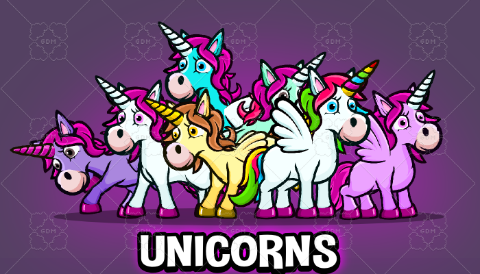 Animated cartoon Unicorn game asset