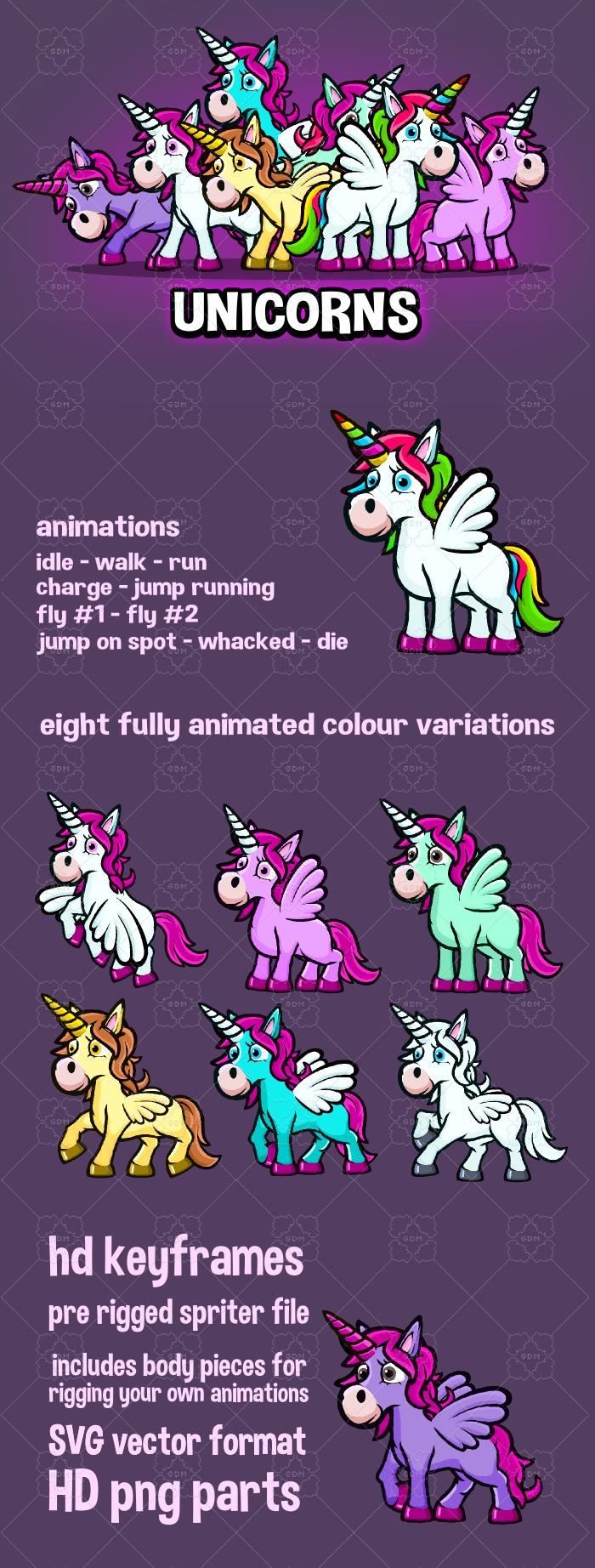 Animated cartoon Unicorn game asset