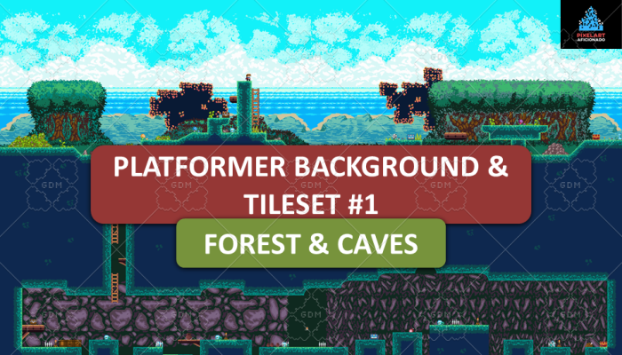 Platformer Background & Tileset #1 – Forest & Caves
