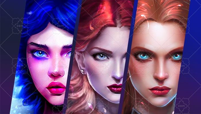 10 female avatars pack