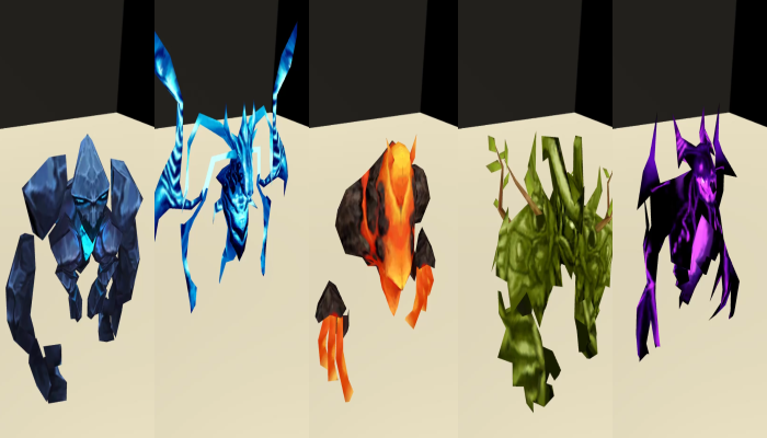 Monster Creature Pack 01 – Elementals – Low Poly