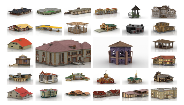 package of 64 3d buildings