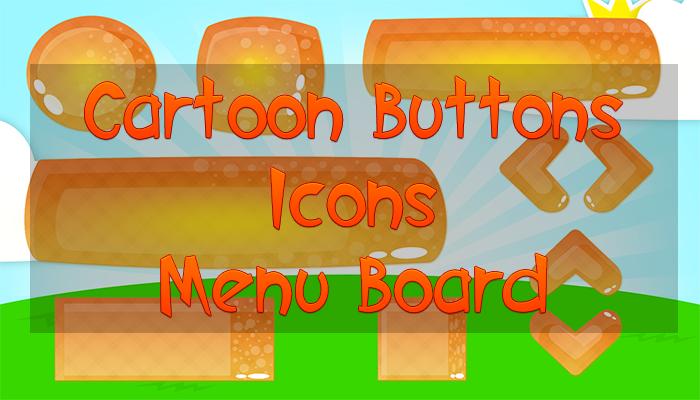 Cartoon Buttons, Icons, Menu Board