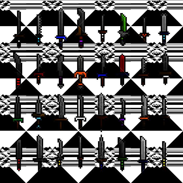Pixel art swords
