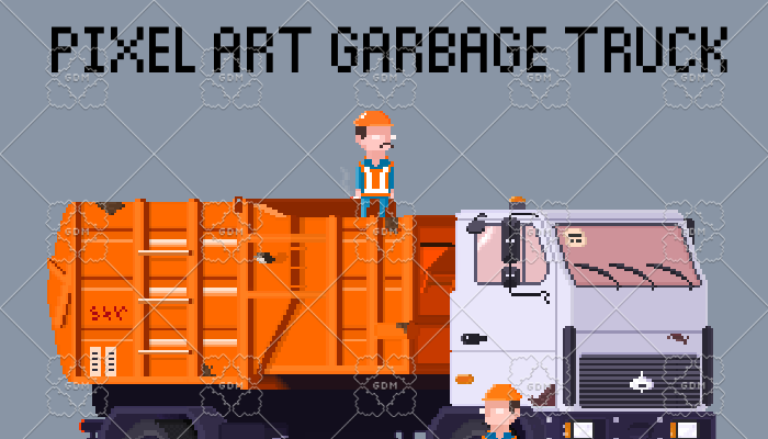 Garbage truck and two garbage men set pixel