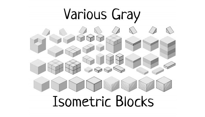 Gray Isometric Blocks