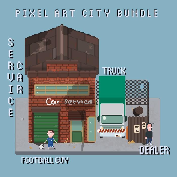 Industrial building, truck, football kid and dealer pixel art