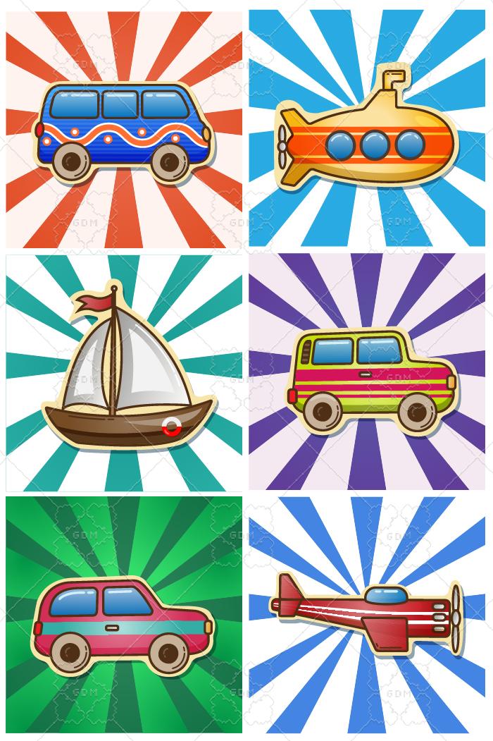 Cartoon Set Of Vehicles