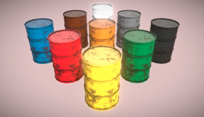 Metal Barrels 9x PBR Low Poly