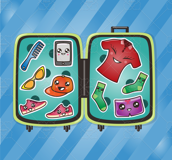 Children's clothes with a suitcase