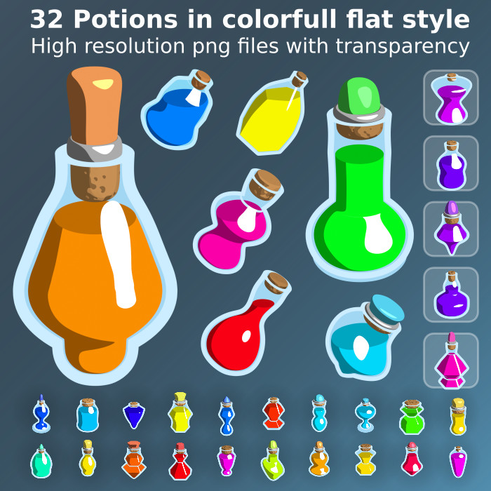 32 Unique Potion Icons in flat style