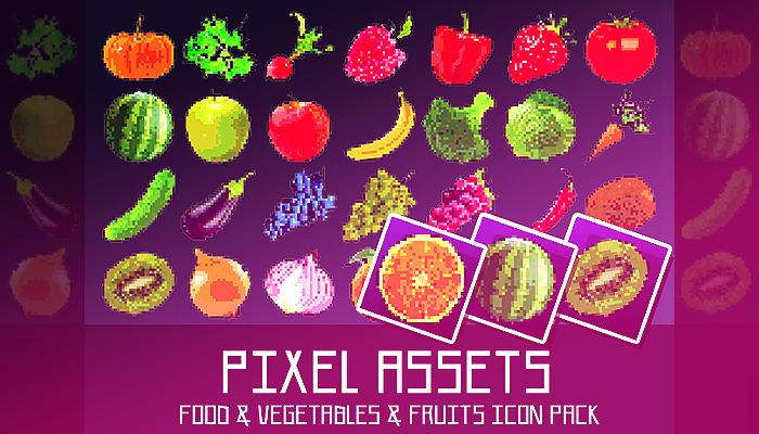 Pixel Assets[+28]: Food & Vegetables & Fruits Icon Pack