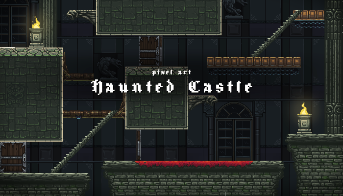 Pixel Art Haunted Castle