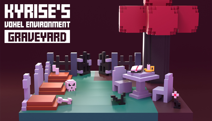 Kyrise's Voxel Graveyard Environment Pack Low Poly