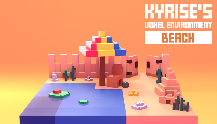 Kyrise's Voxel Beach Environment Pack Low Poly