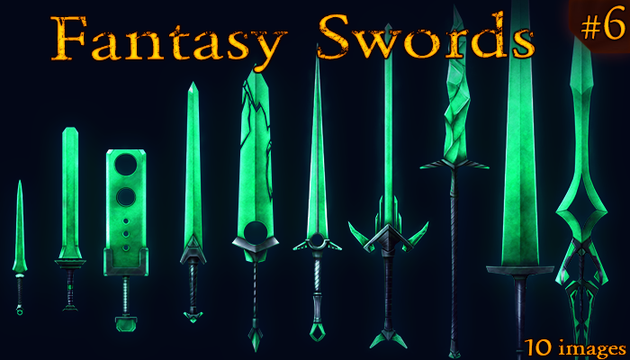 Fantasy Weapon: Jade swords set