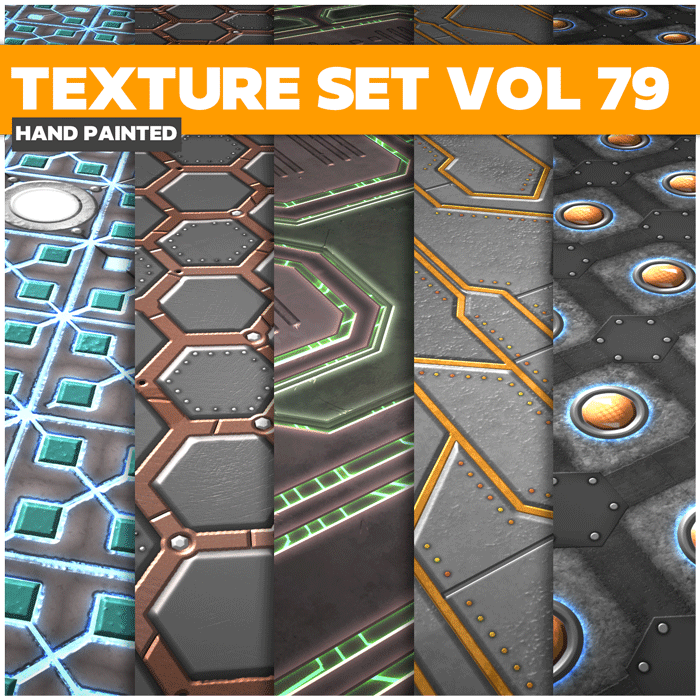 Stylized Scifi MEtal Vol 79 – Hand Painted Textures