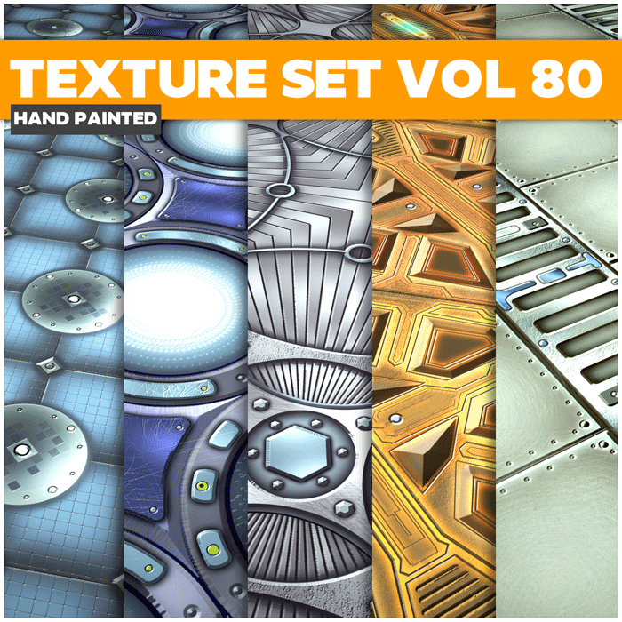 Stylized Scifi Metal 80 – Hand Painted Textures