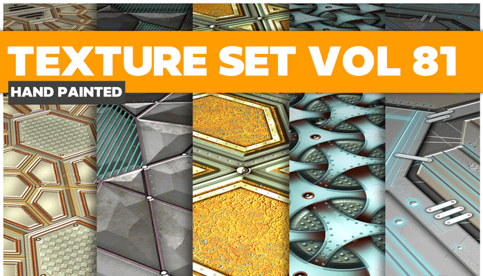 Stylized Sci-fi Metal Vol 81 – Hand Painted Textures