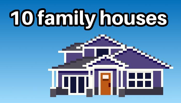 10 family houses, pixel art