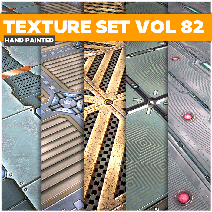 Stylized Sci-fi Metal Vol 82 – Hand Painted Textures