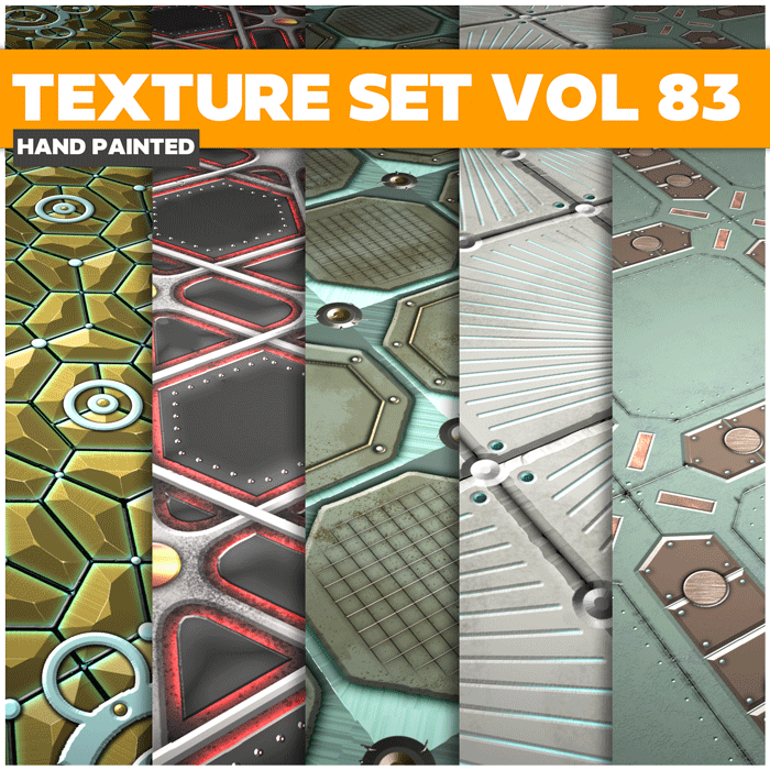 Stylized Sci-fi Metal Vol 83 – Hand Painted Textures