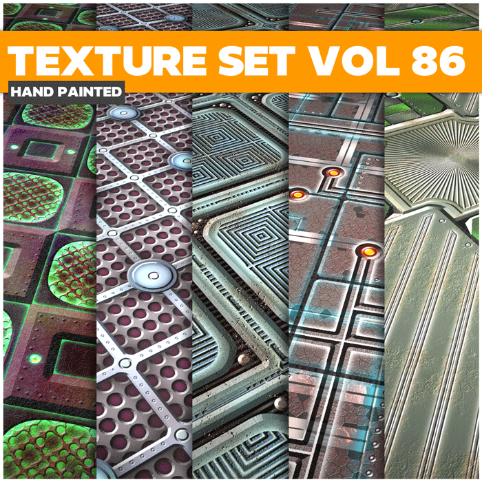 Stylized Sci-fi Metal Vol 86 – Hand Painted Textures