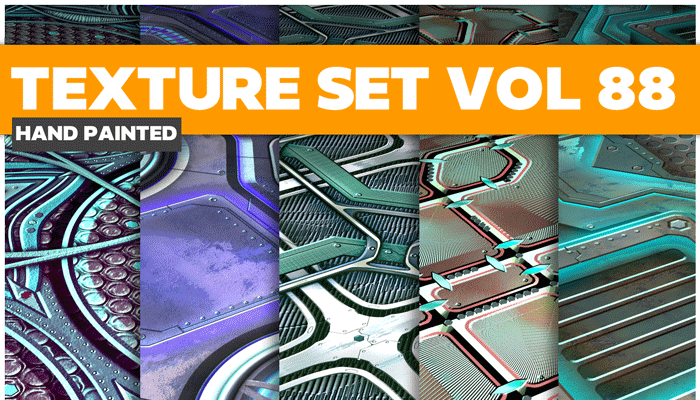 Stylized Sci-fi Metal Vol 88 – Hand Painted Textures