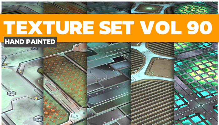 Stylized Sci-fi Metal Vol 90 – Hand Painted Textures